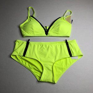 NEW Michael Kors Neon Yellow Bikini Swimsuit  BU